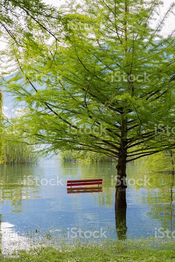 Flooding alpine lake royalty-free stock photo