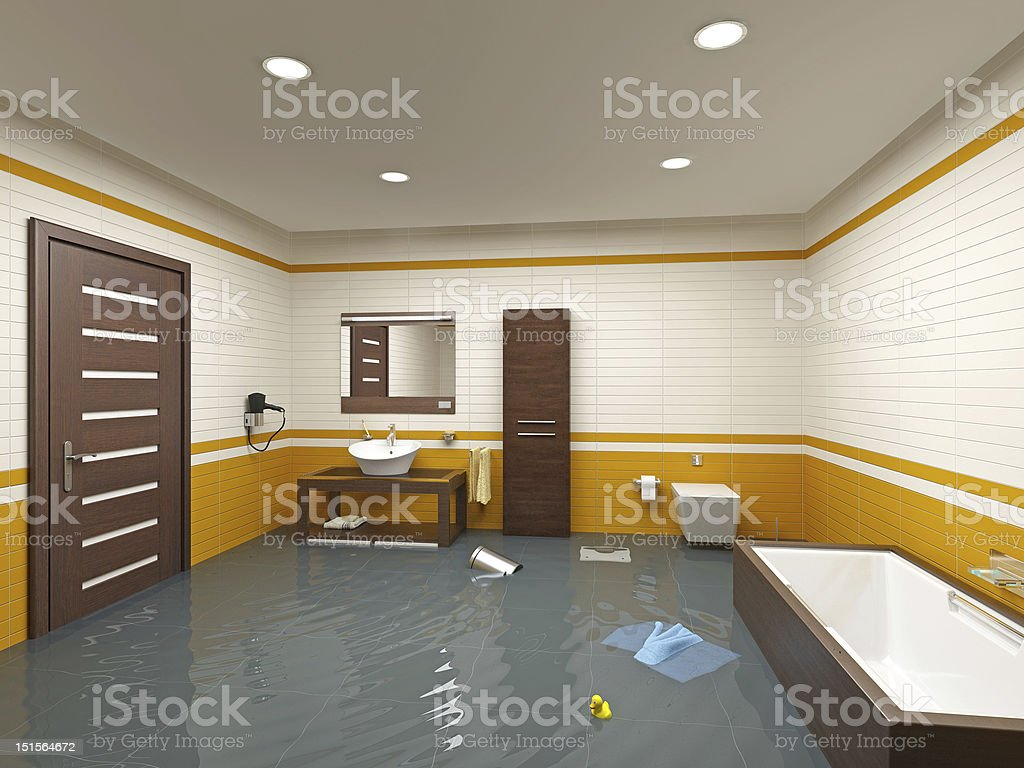 flooding bathroom stock photo