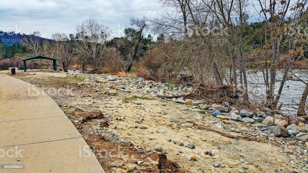 Flooding Damage to Country Park by American River stock photo