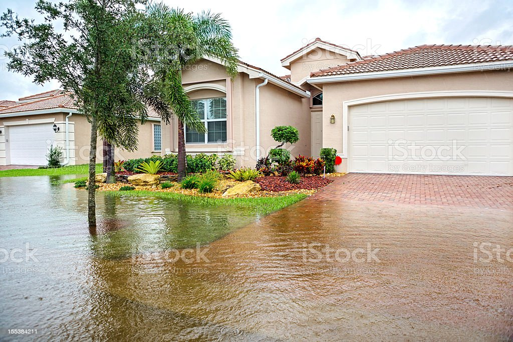 Flooding from a hurricane stock photo