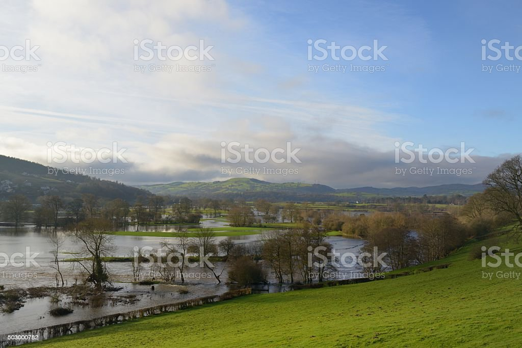 Flooding in the Dee Valley at Corwen stock photo