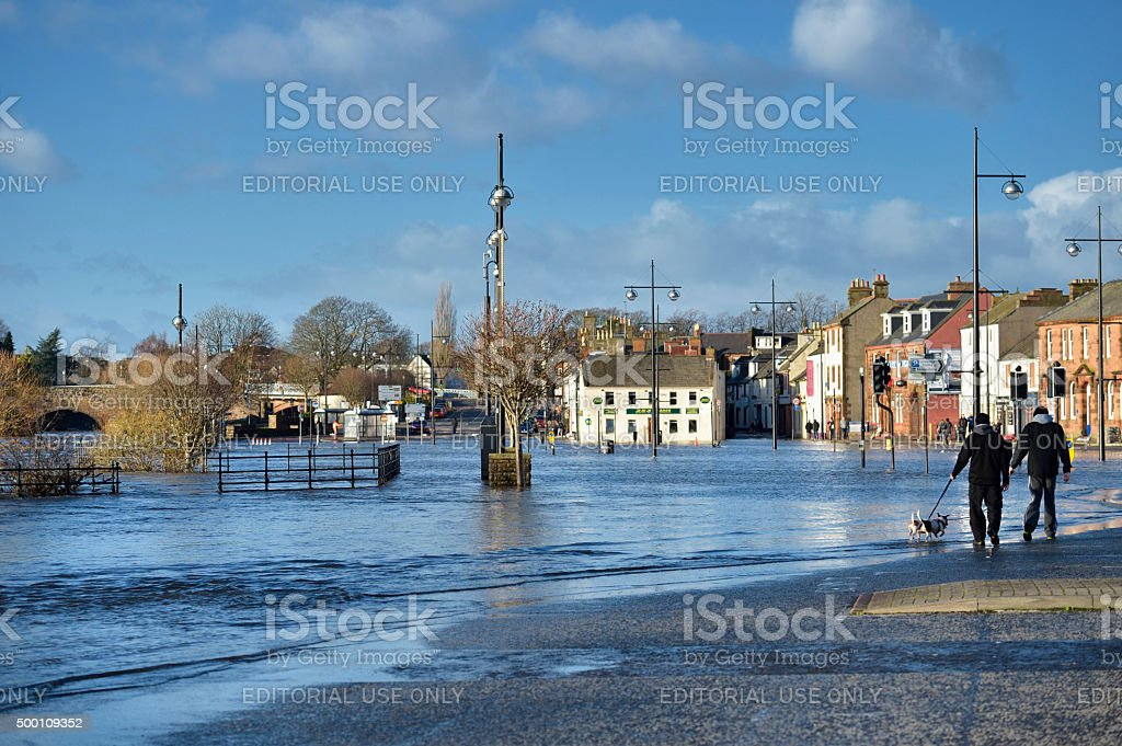 Flooding in the Scottish town of Dumfries. stock photo