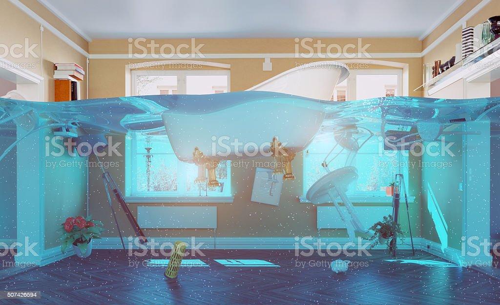 flooding interior stock photo