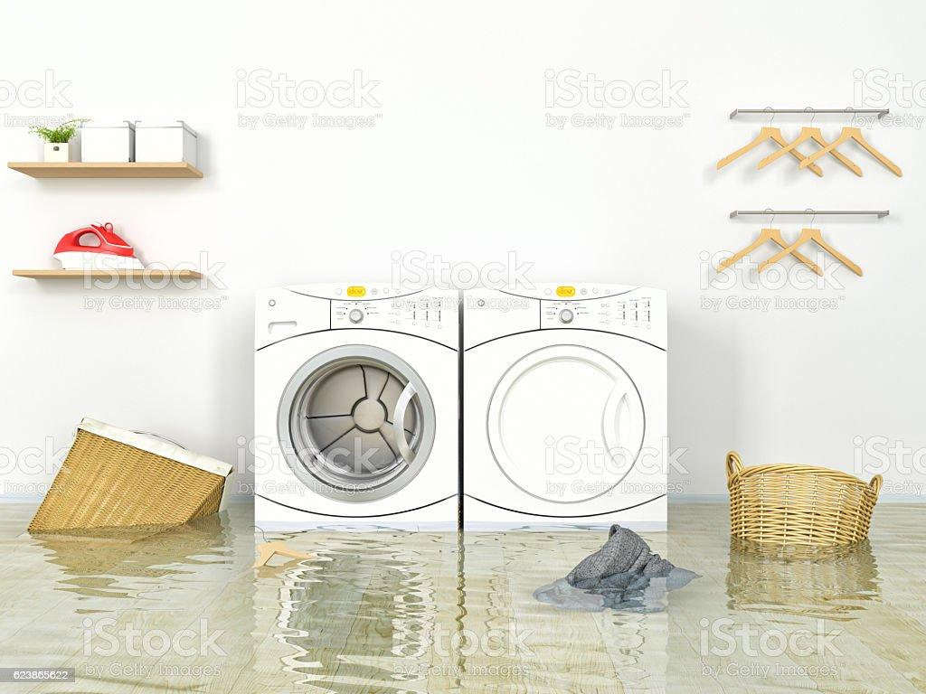 Flooding Laundry room stock photo