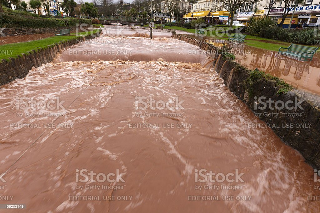Flooding occuring in Dawlish Devon after several hours of rain royalty-free stock photo