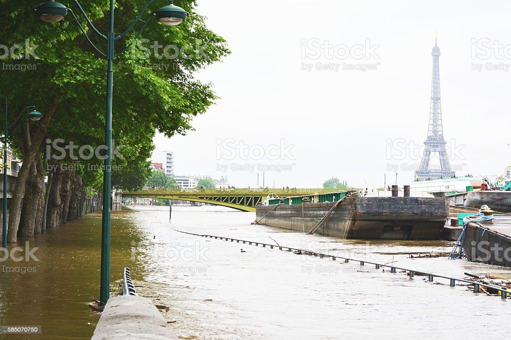 Flooding of Paris in 2016 stock photo