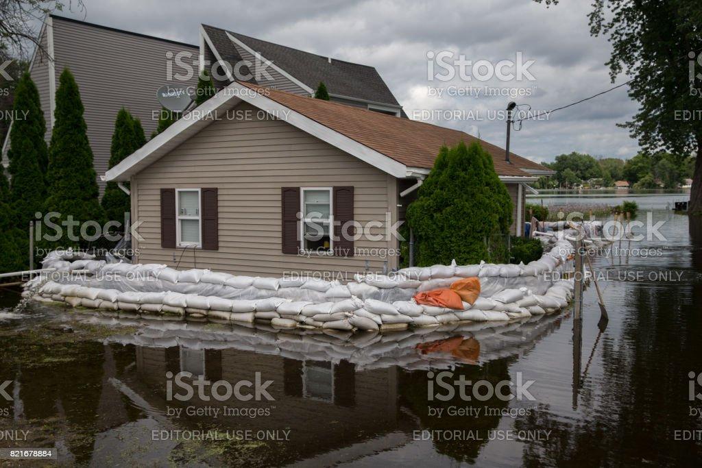 Flooding on Fox River, Illinois stock photo