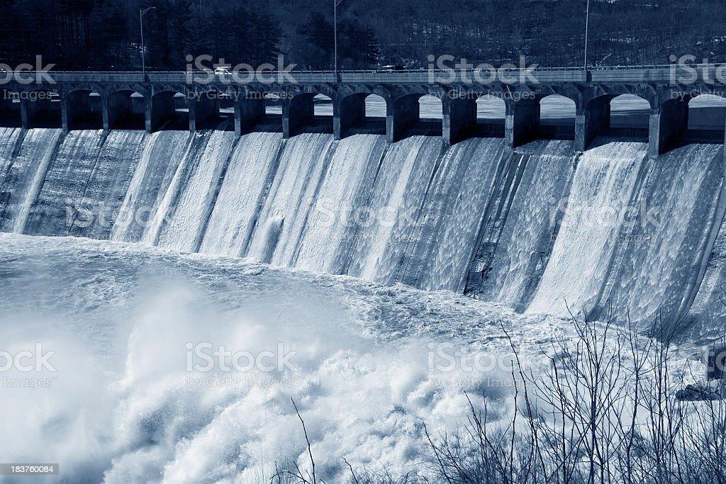 Flooding over Dam stock photo