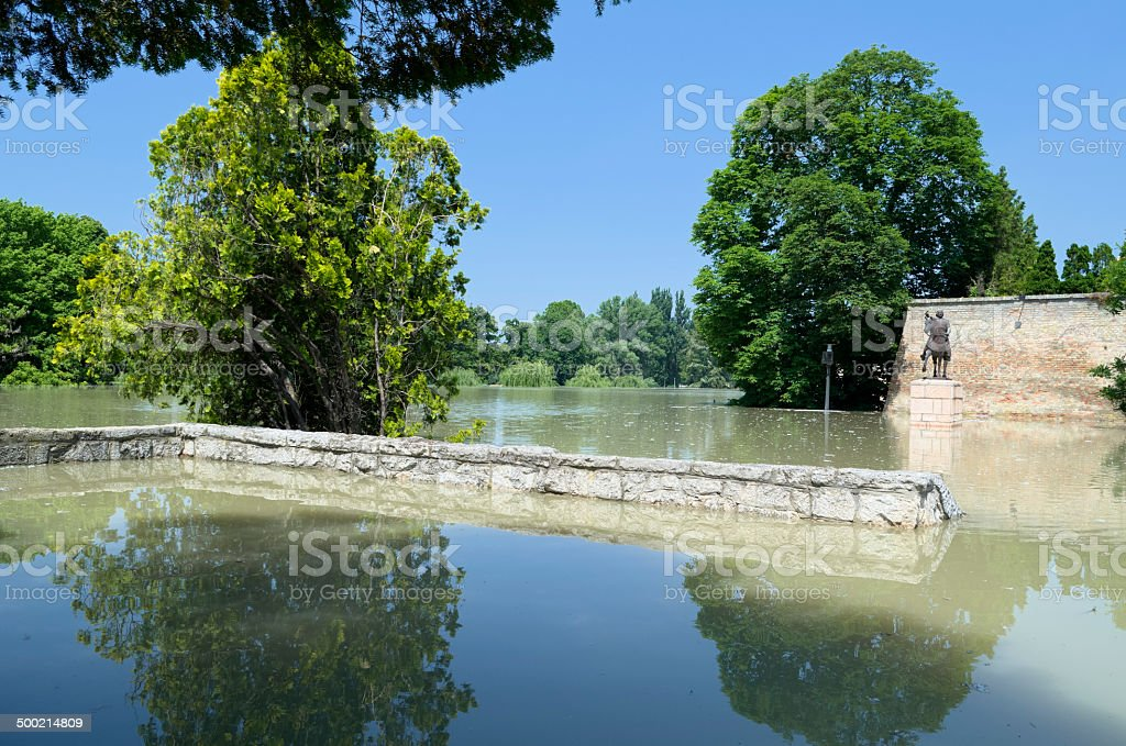Flooding River at Castle Walls royalty-free stock photo