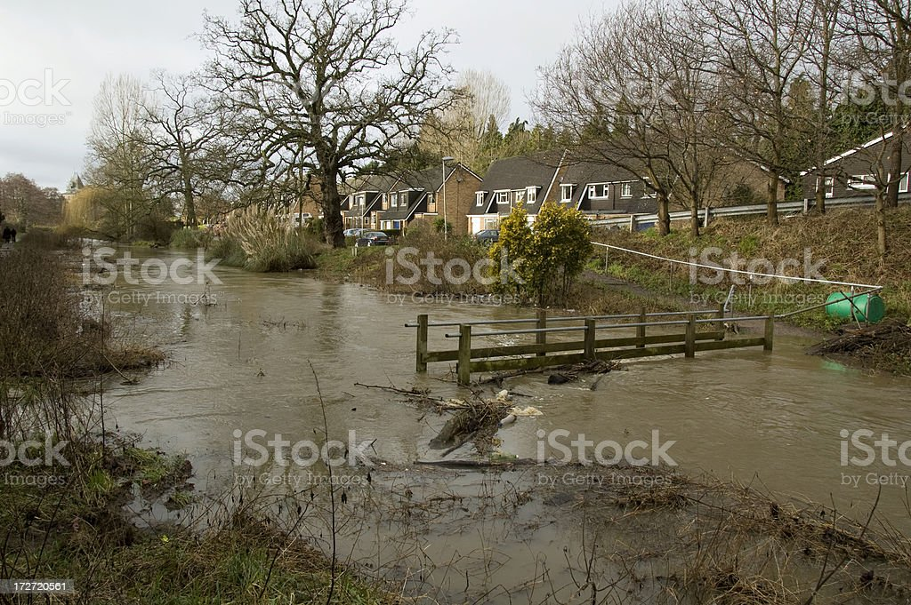 Flooding River Bursts It's Banks In Gloucestershire, England royalty-free stock photo