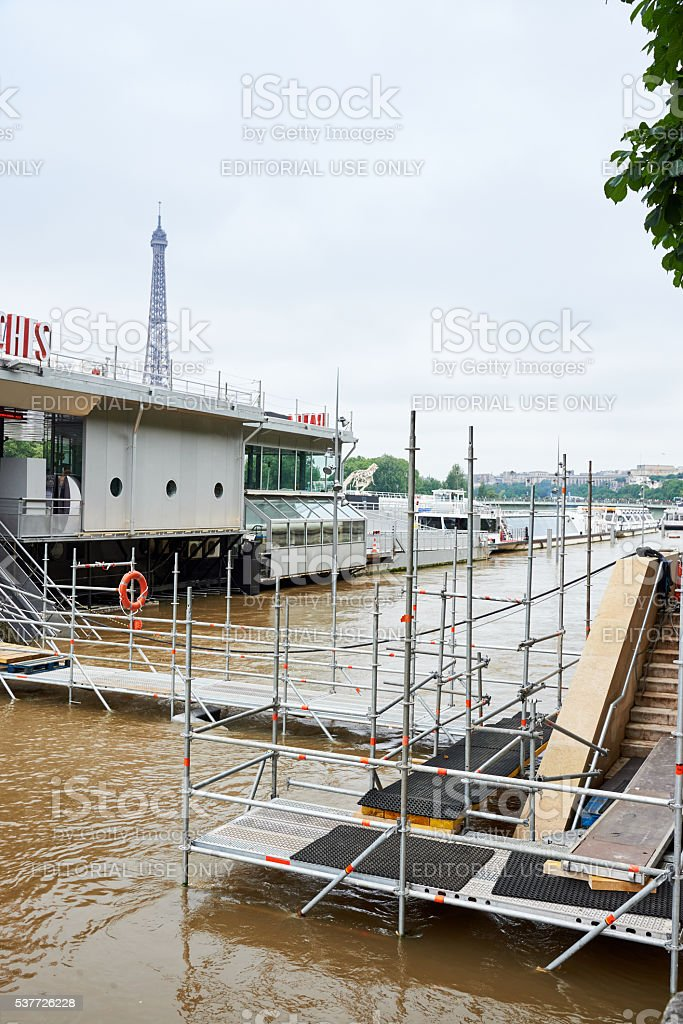 Flooding river Seine in Paris, France 2016 royalty-free stock photo