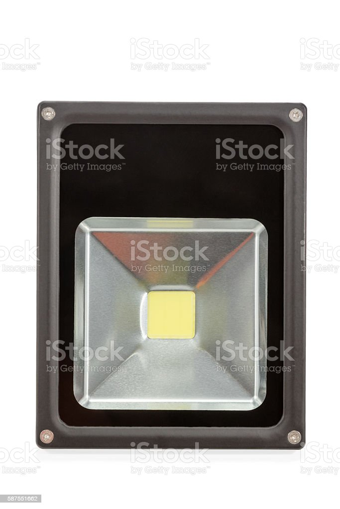 LED floodlight closeup stock photo