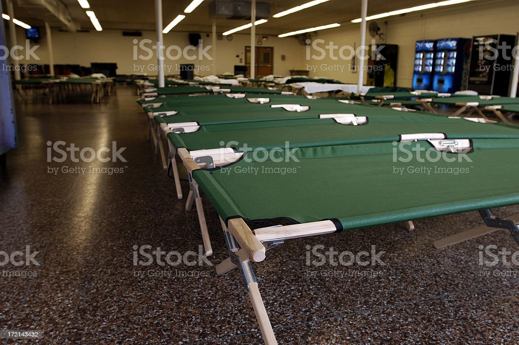 Flood-NJ shelter cots stock photo