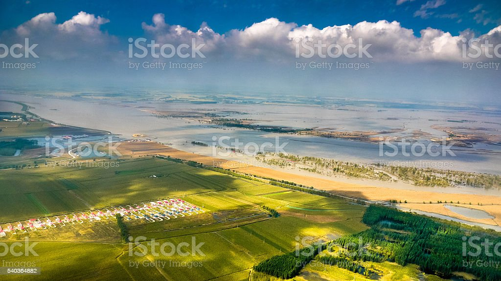 Floodplain landscape on the southern bank of Songhua River stock photo