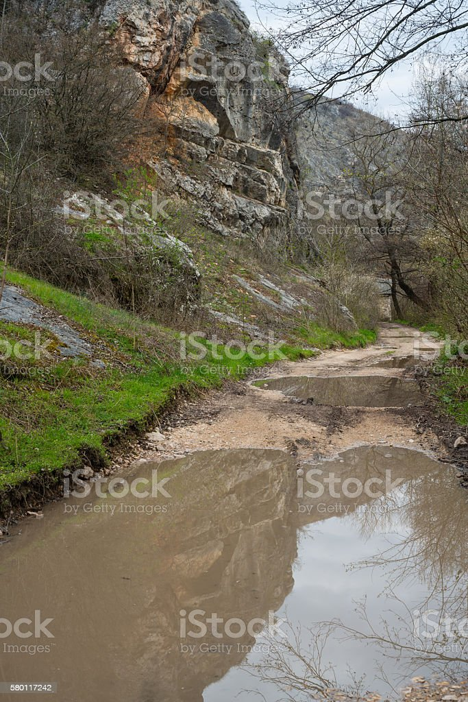 Floods as a result of heavy rains stock photo