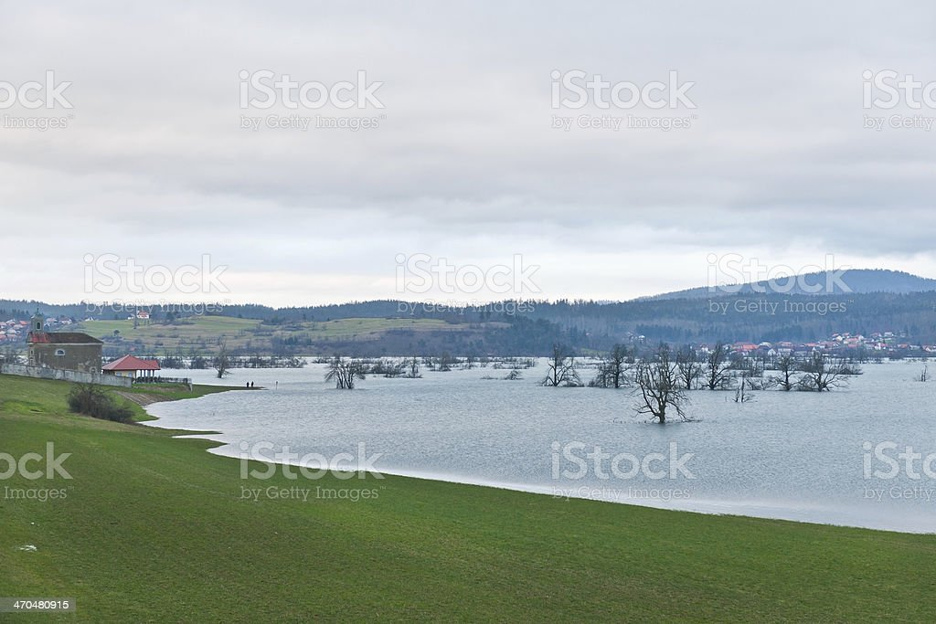 Floods at Intermittent Lake Planina, Slovenia stock photo