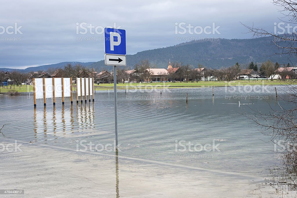 Floods in Cerknica, Notranjska, Slovenia, Europe royalty-free stock photo