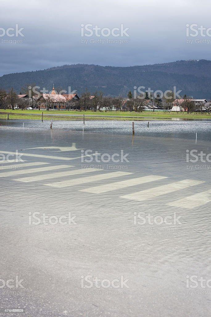 Floods in Cerknica, Notranjska, Slovenia, Europe royalty-free stock photo
