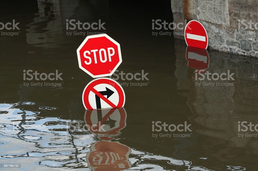Floods in Usti nad Labem, Czech Republic. stock photo