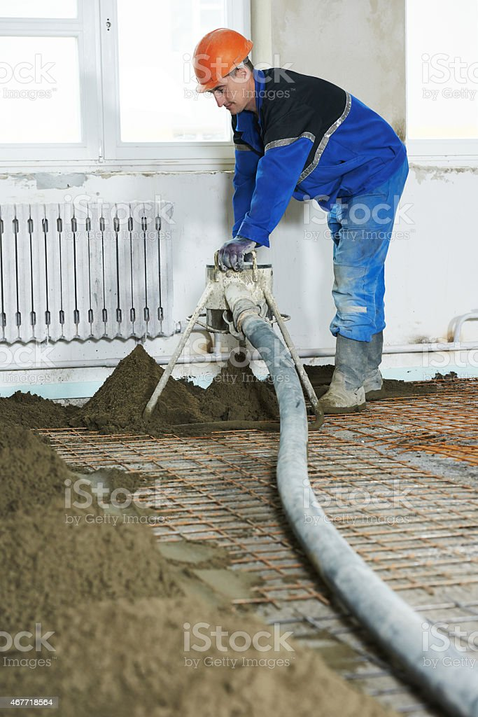 Floor cement covering plastering work stock photo