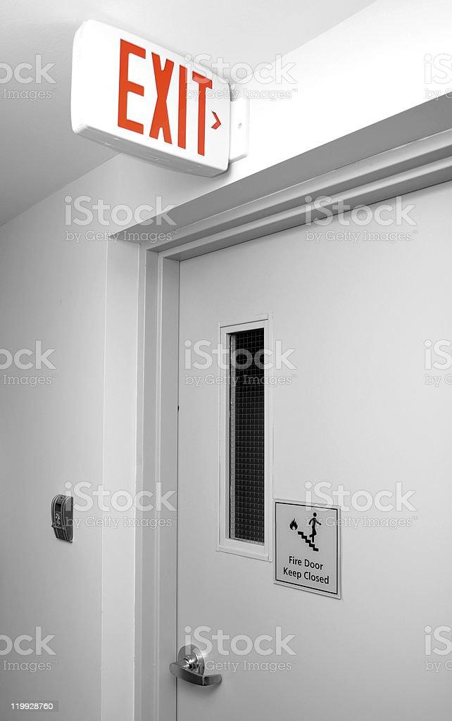Floor exit sign stock photo