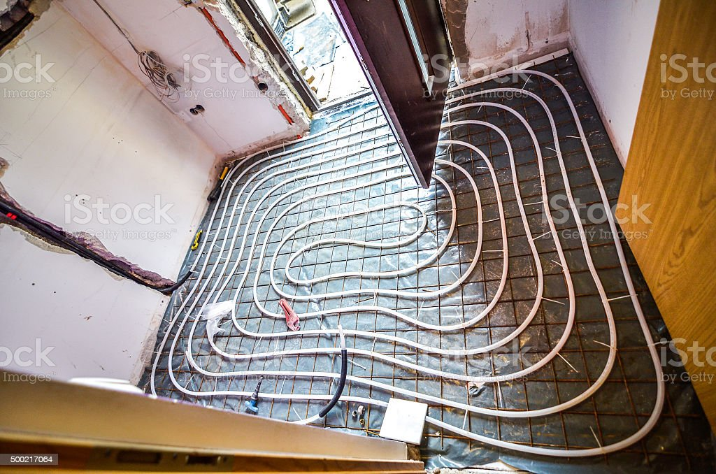 Floor Heating instalation stock photo