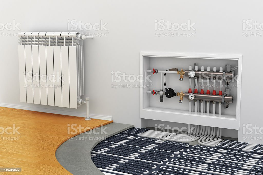 floor heating system, the collector, the battery stock photo
