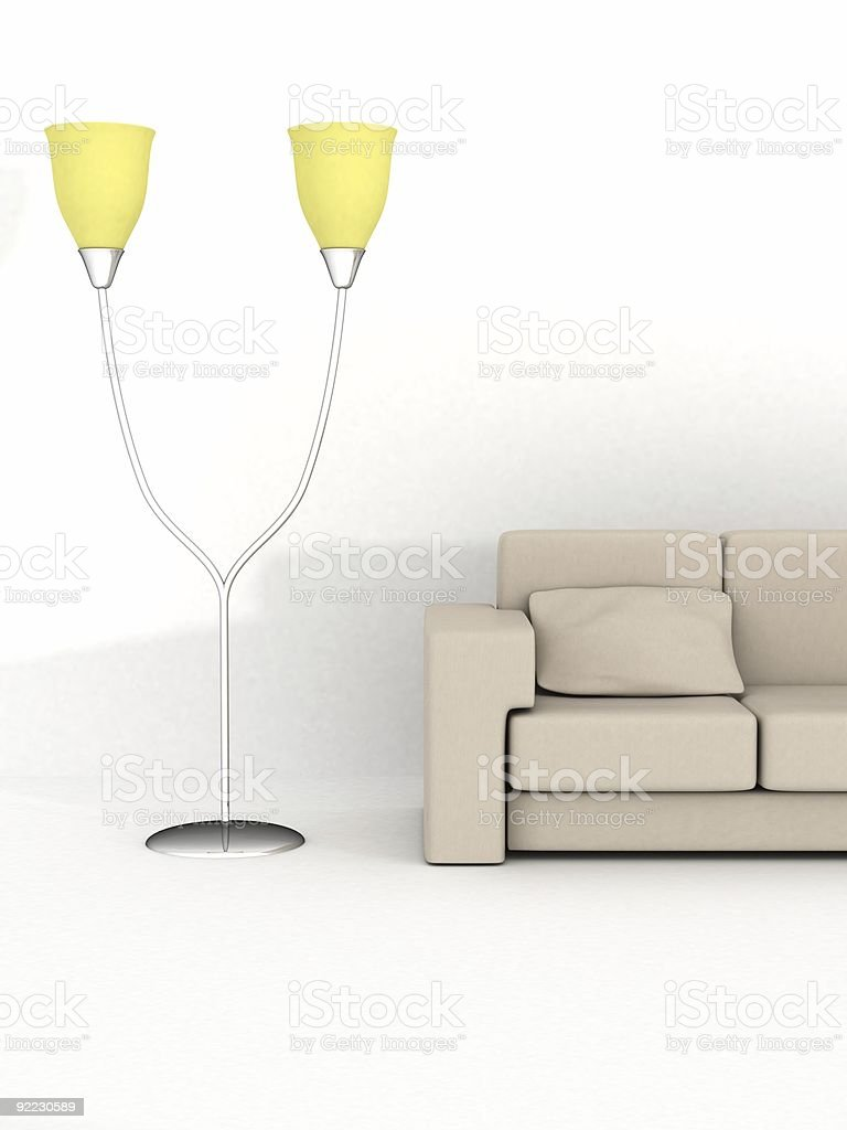 Floor lamp and sofa on a white background royalty-free stock photo