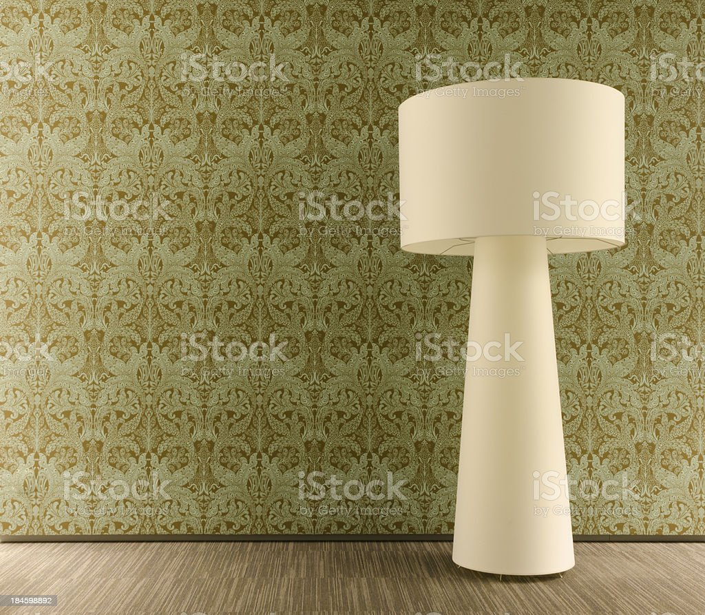 Floor lamp and wallpaper royalty-free stock photo