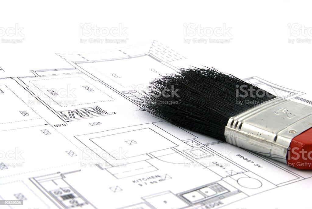 Floor Plan and Paint Brush stock photo