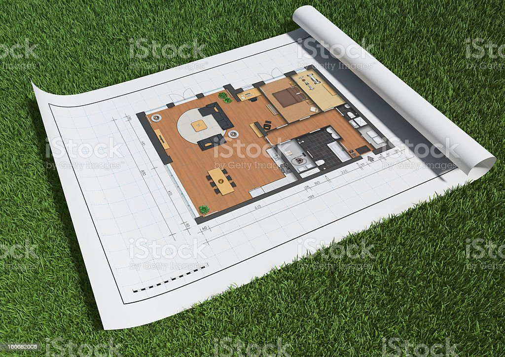 Floor plan in grass. vector art illustration