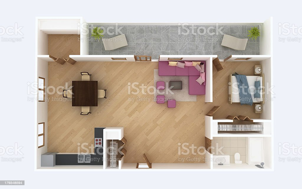 3D floor plan section. Apartment house interior overhead top view. stock photo