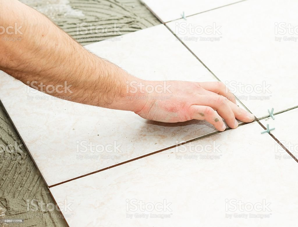 Floor Tiling royalty-free stock photo