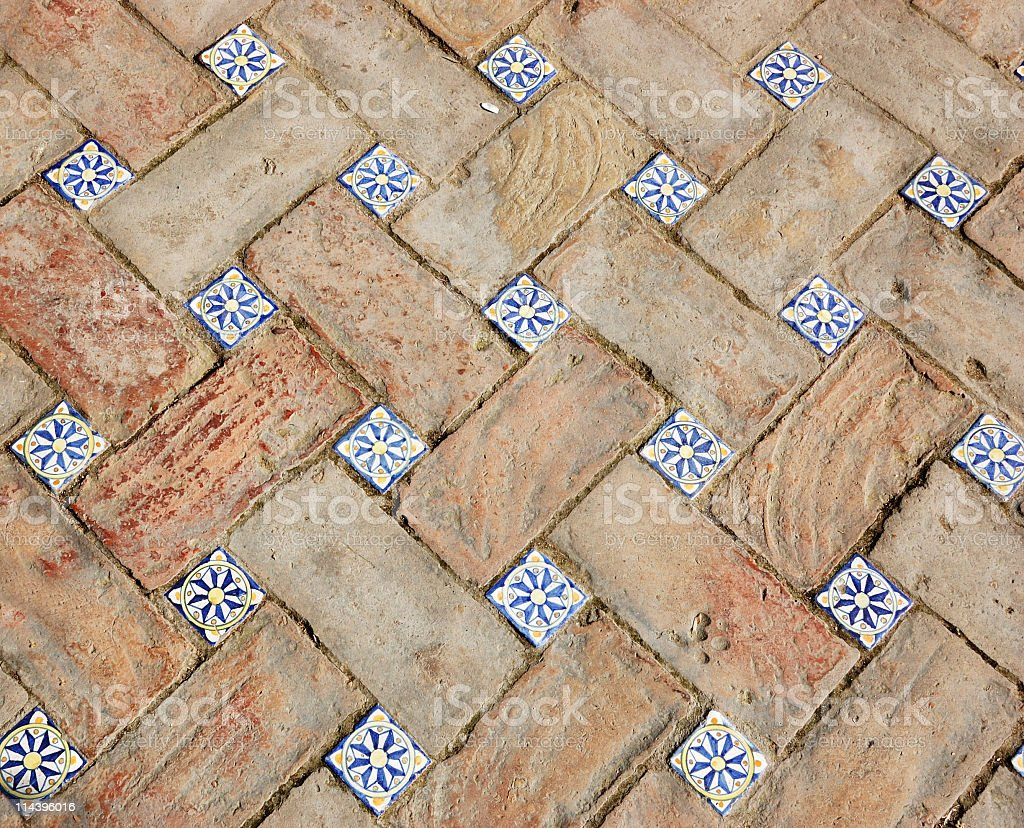 Floor  with bricks and tiles , Reales Alcazares, Seville,Spain royalty-free stock photo