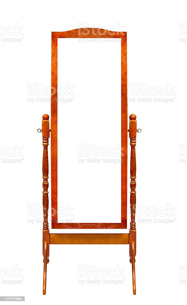 floor wooden frame mirrors stock photo