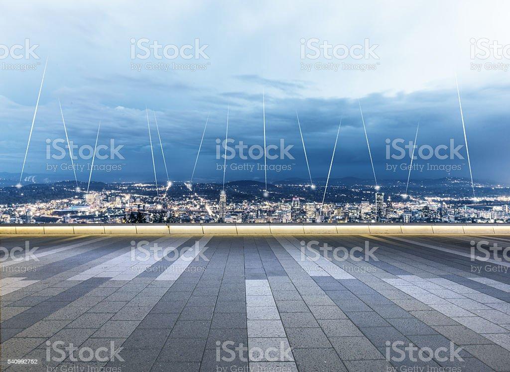 floor,intelligence cityscape and skyline of seattle stock photo