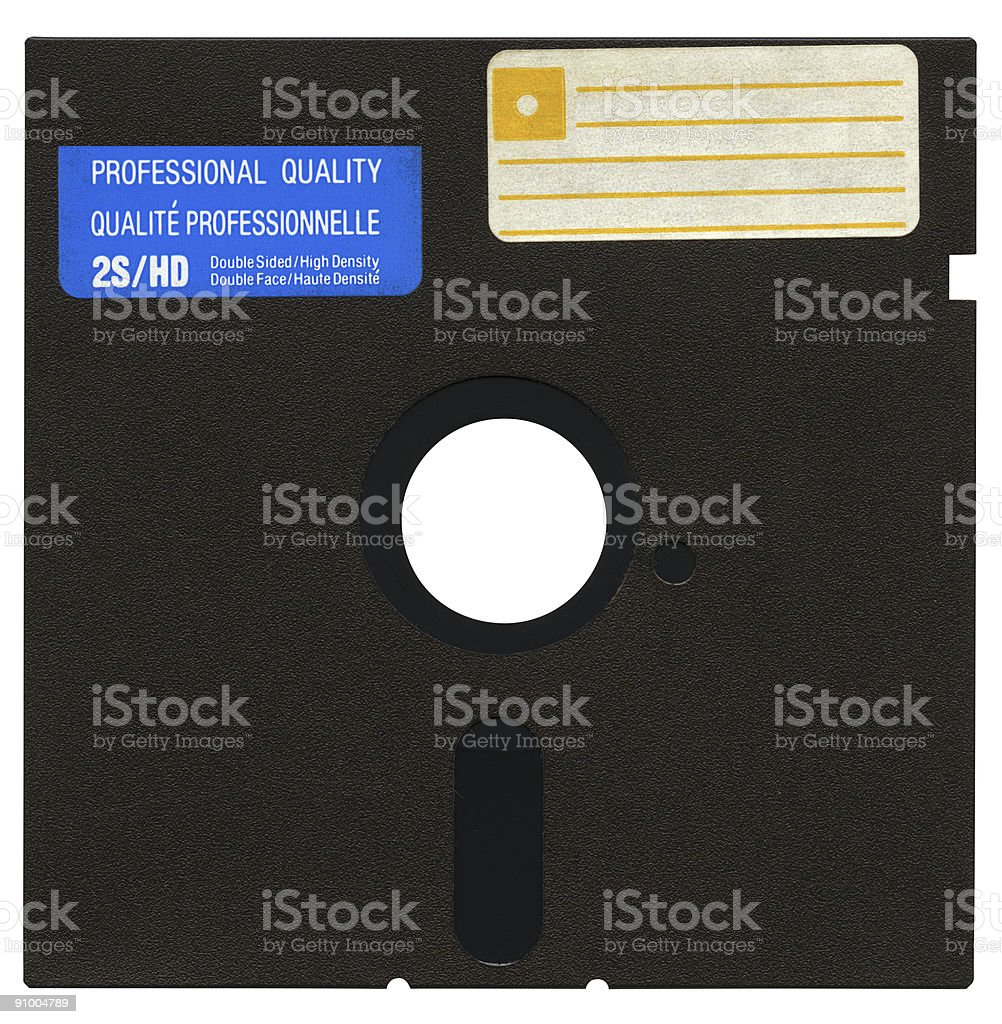 Floppy disk in hi-res, isolated, clipping path on white background stock photo