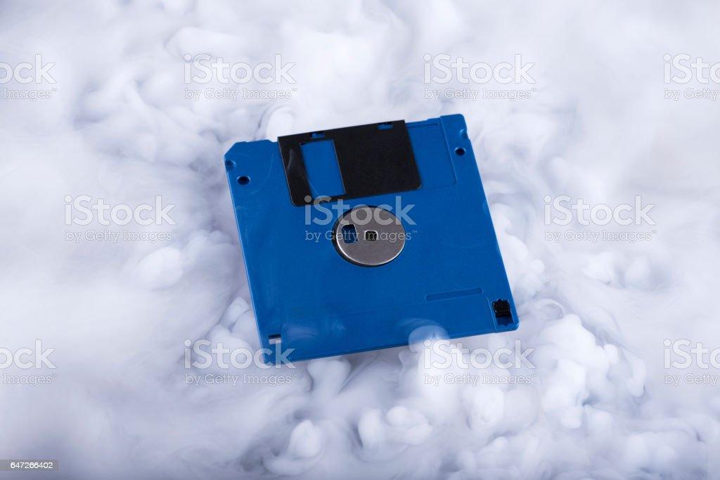 Floppy disk Retro information storage. Information cloud. Conceptual stock photo