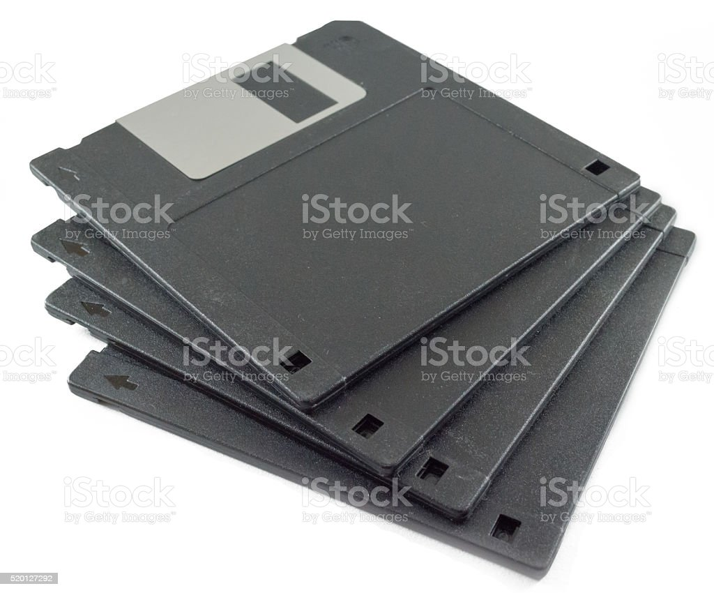 Floppy Diskettes on white background stock photo
