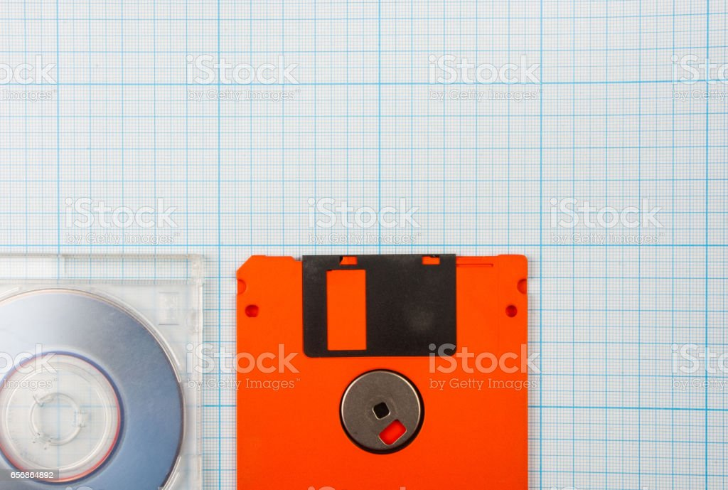 floppy disks and mini-CD stock photo