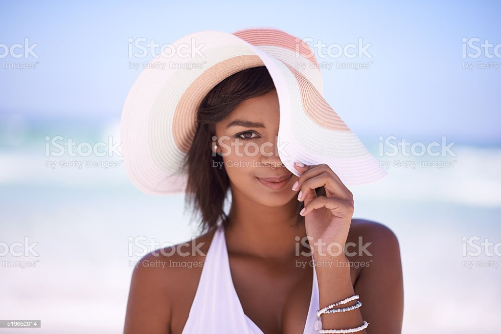 Floppy sunhat, a must-have for a bright summer's day stock photo