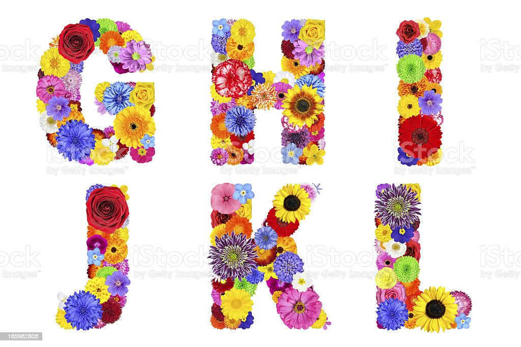 Floral Alphabet Isolated on White - Letters GHIJKL stock photo