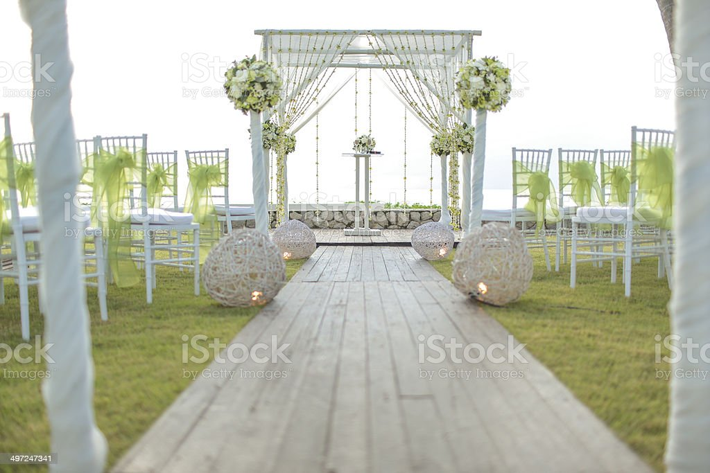 Floral arrangement at a wedding ceremony stock photo