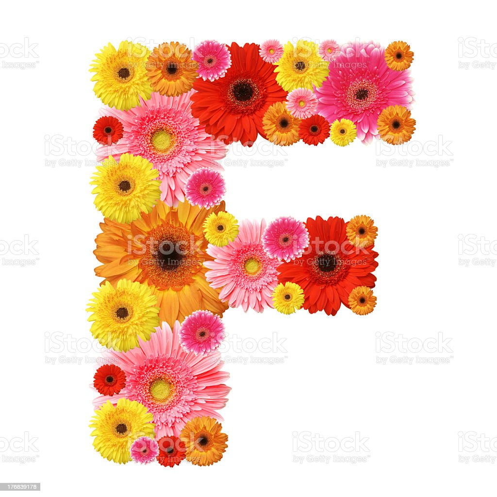 A floral arrangement in the shape of the letter F stock photo