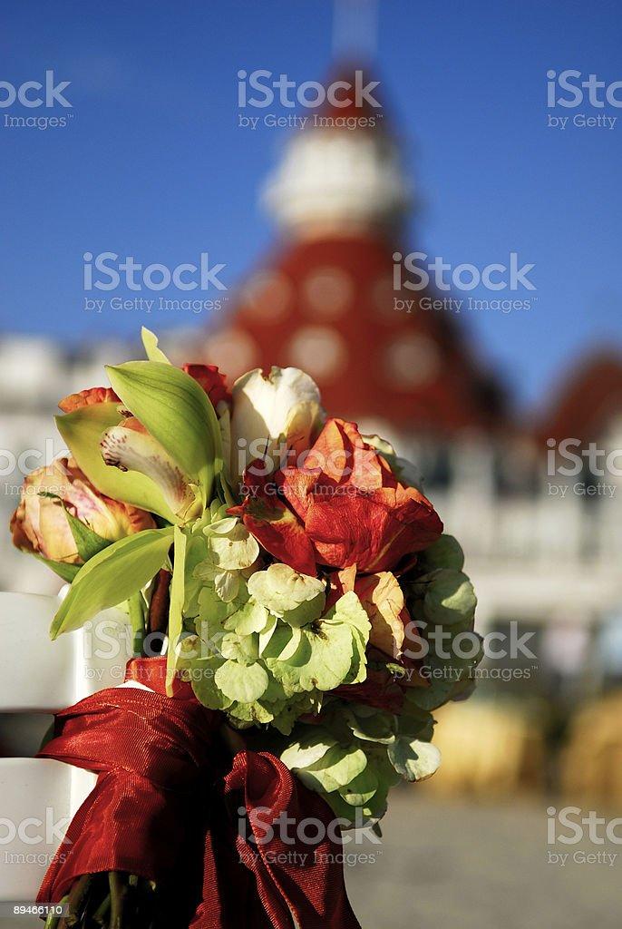 Floral Arrangement on Beach Ceremony Hotel Del Coronado royalty-free stock photo