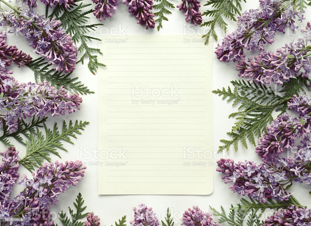 floral background and paper for text,composition flat lay stock photo