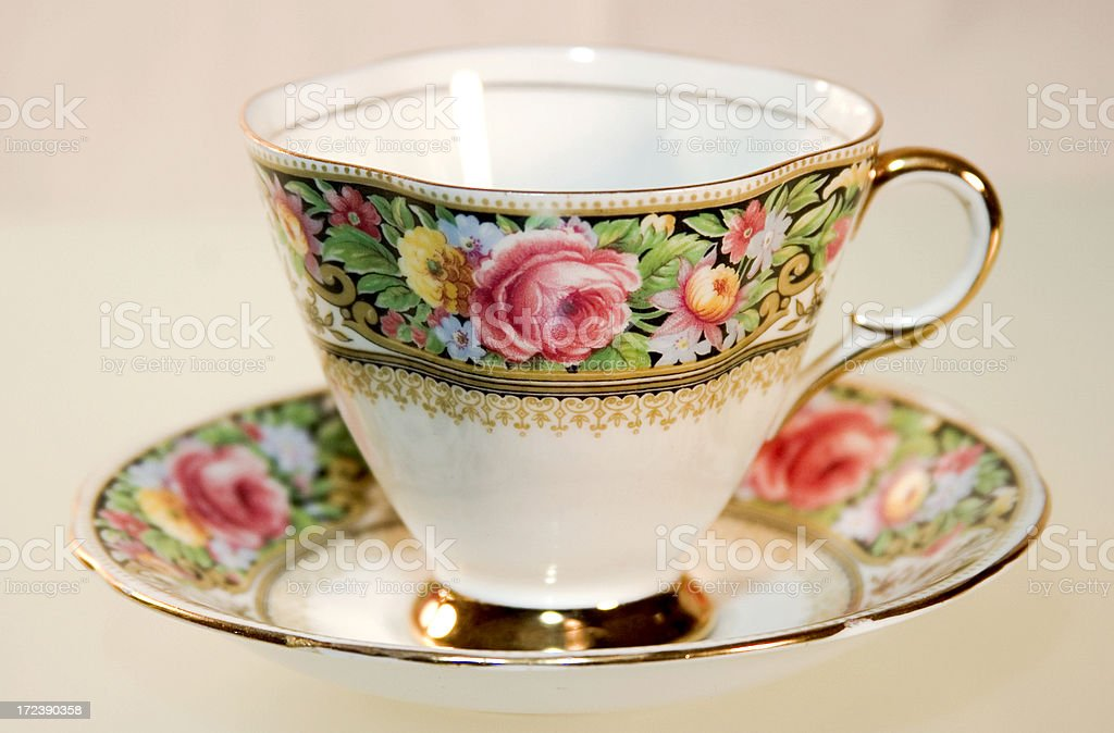 Floral Banded Bone China Cup & Saucer Full View royalty-free stock photo