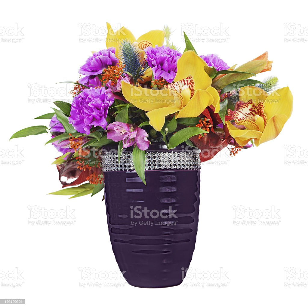 Floral bouquet of orchids, gladioluses and carnations royalty-free stock photo