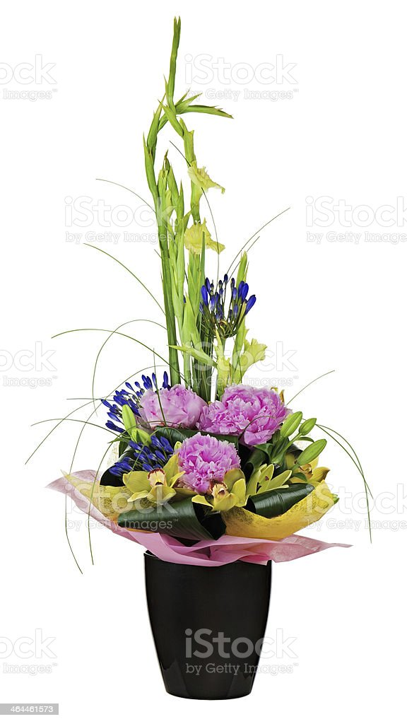 Floral bouquet of orchids, peon flowers and gladiolus arrangemen royalty-free stock photo