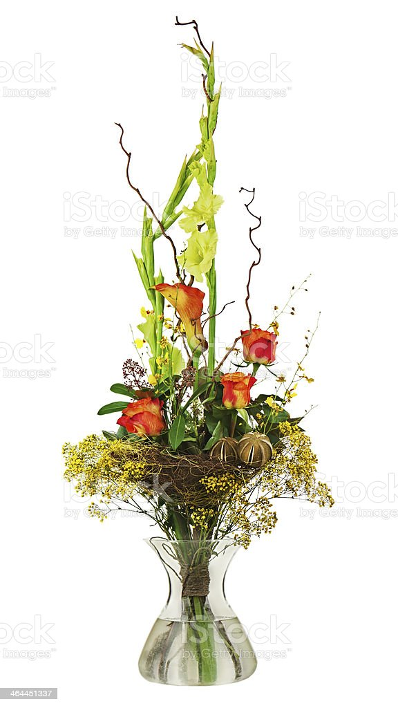 Floral bouquet of roses and gladiolus isolated on white backgrou royalty-free stock photo